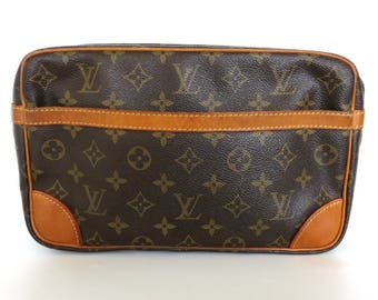 Authentic LOUIS VUITTON Monogram Canvas Leather Compiegne 28 Clutch Bag Purse