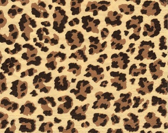 Decoupage Paper Napkins African Animal Leopard Print PPD (1x Napkin) - ideal for Decoupage, Collage, Mixed Media, Crafts