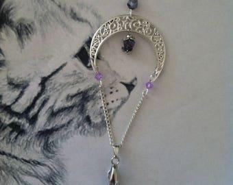 """Purple Haze"" Purple and silver Moon pendant"