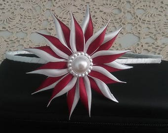 Hair clip with Satin Flower red and white/Satin ribbon Hair clip/Kanzashi flower