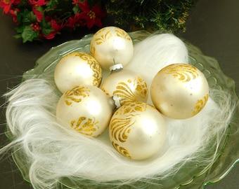 6 Vintage Gold Shiny Brite Glass Christmas Tree Ornament, Decorative Xmas Bulb, Round Gold Stencil Glitter Mica Bulb, USA, Christmas Display