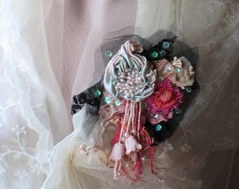 Dew shadows -embroidered and beaded brooch,bohemian inspired romantic brooch, wearable art, hand beaded textile art brooch, Mixed media