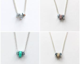 Hex nut necklace (various colours)