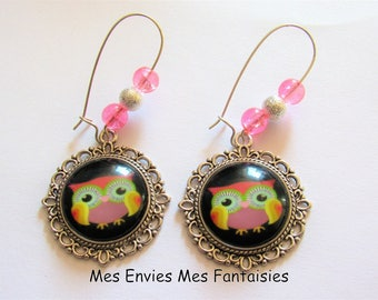 Earrings pink OWL beads cracked ღ ღ ღ silver Stardust beads