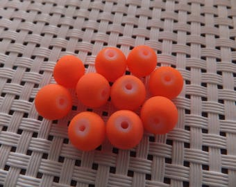 10 X 8 mm neon orange glass beads