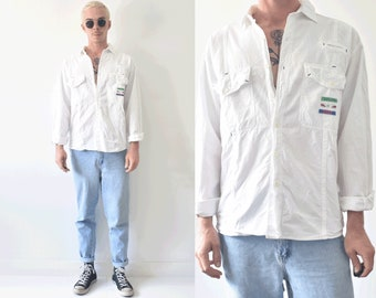Shirts At Work Vintage Button Up Clean Cut White Shirt