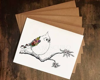Songbird Card Set - Floral Songbird A2 Greeting Cards with Kraft Envelopes, Set of 4 Blank Cards, Woodland Creature Cards, Bird Illustration