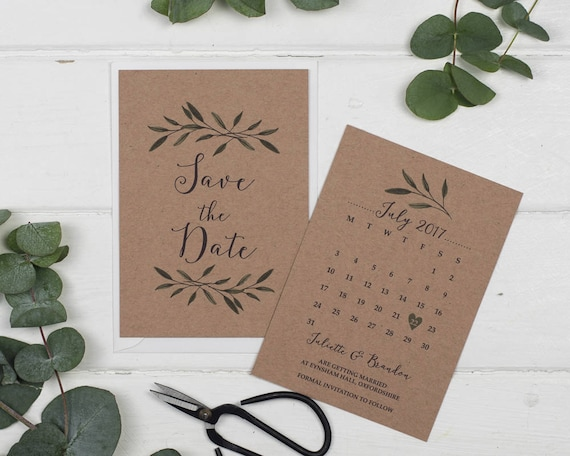 Rustic Save The Date Card - A6 Woodland Kraft