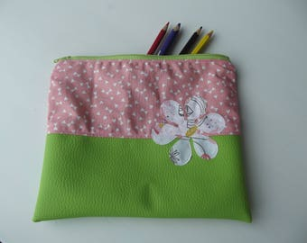 Pink and lime green bag with flower