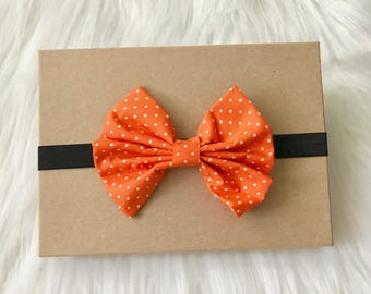 Halloween Headband, Bow Headband, Halloween Baby Bow, Orange Headband, Baby Headband, Baby Girl Headband, Infant Headband, Newborn Headband