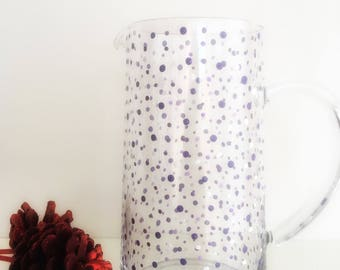 Hand painted Purple and white spotty Jug