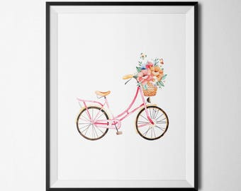 Floral Bicycle Printable Bicycle with Flower Basket Antique Bicycle Bike Wall Art Floral Nursery Aqua Nursery Decor Nursery Bicycle Print