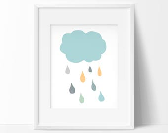 Happy Cloud Print, Nursery Wall Art, Nursery Cloud printable, Nursery Decor, Scandinavian Art Print, Retro nursery print,Baby room art