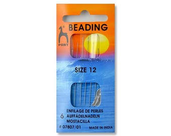 Pony Beading Needle # 10/#12- 6 PK with threader,Suitable for both bead weaving and stringing.