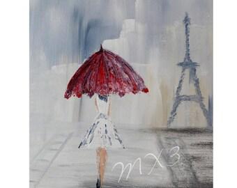 Red Umbrella Print, Girlfriend Gift, Gift for Her, 8x10 Print, Eiffel Tower Print, Paris Print, Umbrella Print, Female Gift, Frameable art