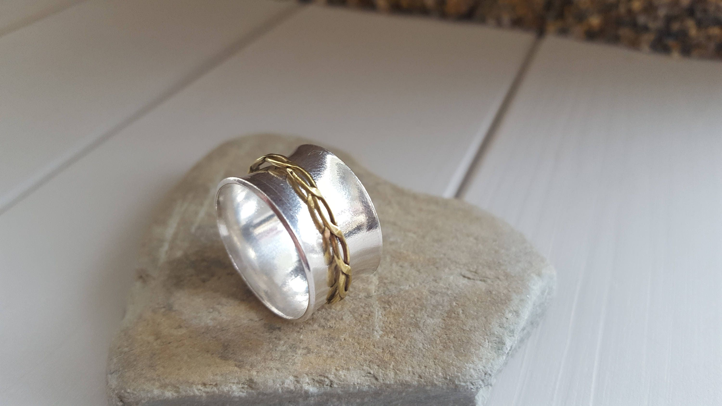 sterling silver ring spinner ring worry ring 925 silver