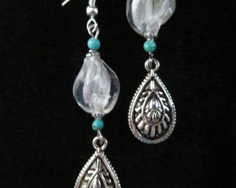 earrings with murano lampwork twist beads