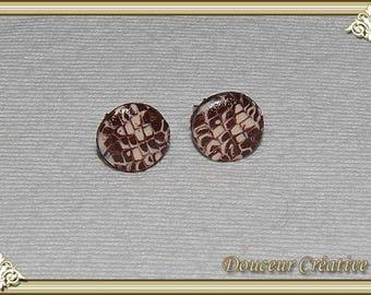 Stud Earrings brown beige round 104042