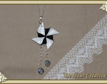 Black and white necklace origami beads 103006