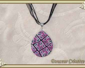 Necklace black gray pink spiral drop 103065