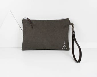 Flat clutch in velvet and rhinestone strap look canvas detachable leather