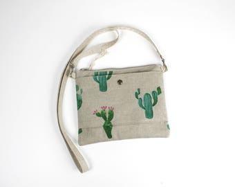 """""""Cactus"""" canvas shoulder bag natural linen cotton"""