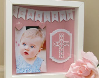 Personalised Baby Frame for 6x4 photo - Birth - Christening - Baptism - Dedication - Baby Gift - Box frame