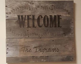 Custom Welcome Family Established sign