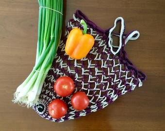 Crochet market bag, Striped net bag, Purple and cream grocery bag, Classic cotton mesh for your daily shopping and the market