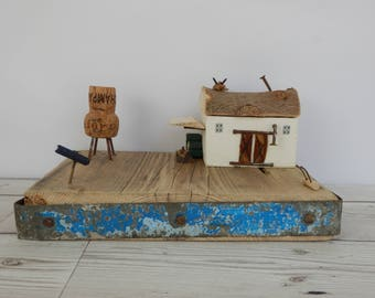 Moonlight barn home decoration,country barn,handmade mini wooden barn,recycled wood art,wooden cottages,wise owl and the wolf,new home gift