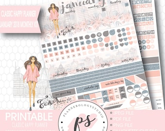 Fashionista January 2018 Monthly View Kit Printable Planner Stickers (for use with Classic Happy Planner) (JPG/PDF/Silhouette Cut File)