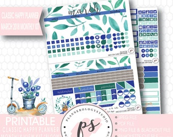 Bloom March 2018 Monthly View Kit Digital Printable Planner Stickers (for Classic Happy Planner)|JPG/PDF/Silhouette Cut File/Blackout File