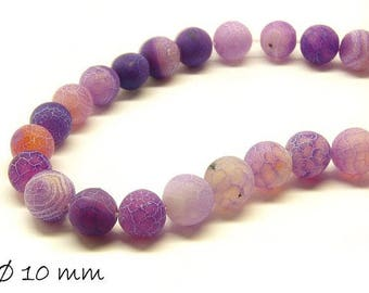 10 pcs matte cracked agate beads, 10 mm, purple