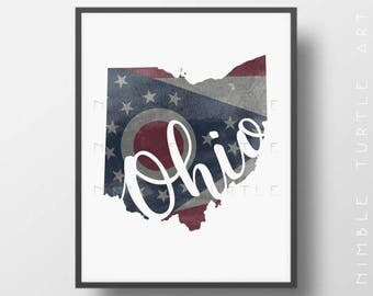 Ohio State Outline Watercolor Printable Download - Ohio State Flag