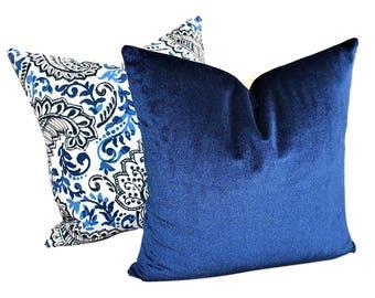 Navy Blue Velvet Cushion Cover, Velvet Throw Cushion Cover, Blue Cushion Cover, Navy Cushion Cover, Decorative Cushion Cover