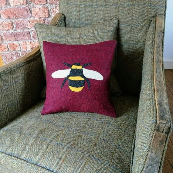 SALE Hand crafted Harris Tweed Bumblebee Design cushion cover