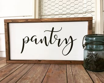 Pantry Wood Sign - Farmhouse - Framed Sign - Rustic Decor - Kitchen Sign