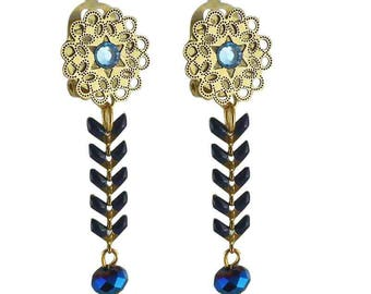 Isis blue clip earring