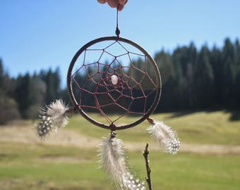Dream catcher, red with feathers