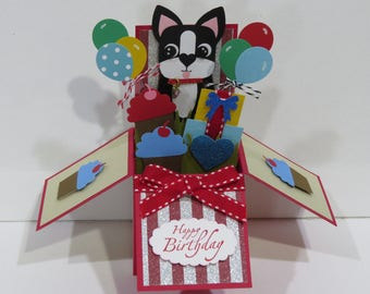 3D Pop Up card in a Box Pug Boston Terrier Happy Birthday with balloons made w/ Stampin Up items card ILOVEMOM07 Greeting Card and envelope