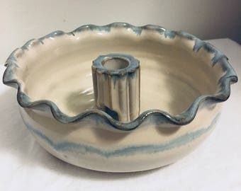 SALE - Blue & White Pottery Jewelry Holder - Pottery Jewelry Storage