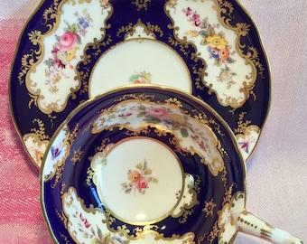 Pretty in Pink-Stunning Cobalt Blue Coalport Pedestal Teacup and Saucer