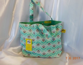 Mint Green Cotton Tote with Canvas lining