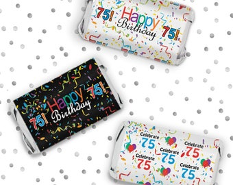 Happy 75th Birthday Mini Candy Bar Sticker Wrappers - 75th Birthday Colorful Favors - Celebrate 75 Sticker - 54 Count