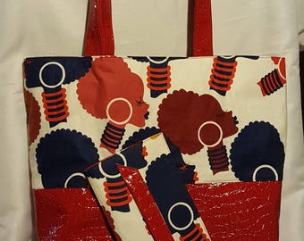 Red Afro Tote Set
