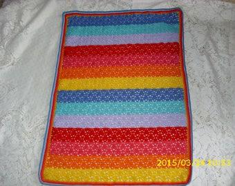 """Rainbow"" baby blanket crocheted 81X58cm"