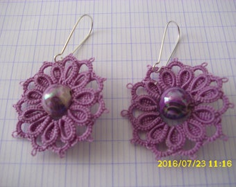 "Earrings ""Violet"" hand-made in tatting"