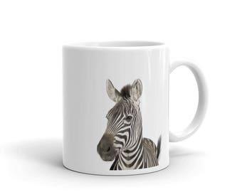 Zebra Mug, Zebra Art Print Mug, Zebra Gifts, Coffee Tea Mug, Zebra Photograph Animal Art Print, Nursery Animal Decor, Black and White Mug