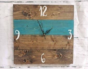 Pallet clock- wood clock- rustic clock- rustic decor- home decor- pallet decor