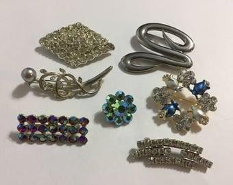 Lot Brooches - Rhinestones - Pins - Silver Tone - Bridal - M. Jent
